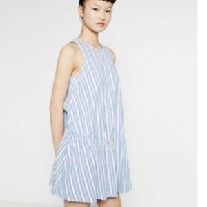 Zara Blue & White Striped Drop Ruffle Hem Mini